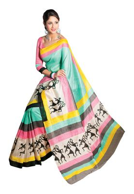 Fabdeal Turquoise &  Pink Bhagalpuri Silk Printed Saree With Blouse Piece