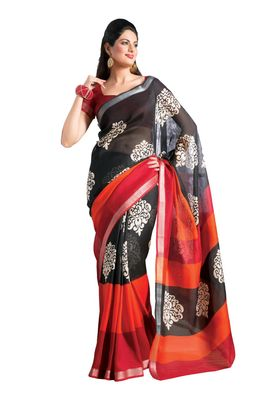 Fabdeal Black & Red Bhagalpuri Silk Printed Saree With Blouse Piece