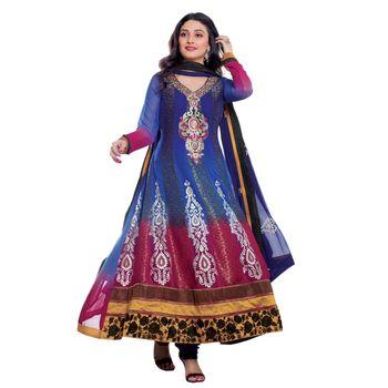 Hypnotex Faux Chiffon Designer Dress Material 1601B