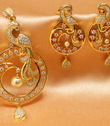 Buy Beautiful  high gold peacock pendant set eid-jewellery online