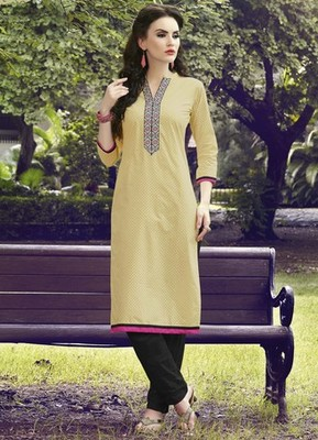 Yellow Pure Cotton Stitched Printed With Embroidery Kurti