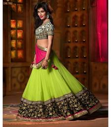 Buy Red and green embroidered georgette unstitched lehenga-choli ghagra-choli online