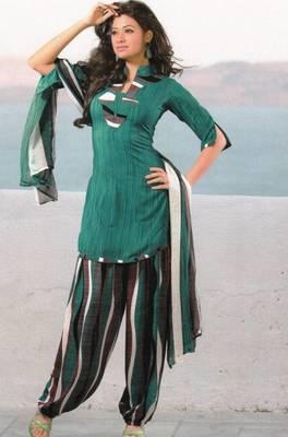 Dress material crepe unstitched patiala salwar kameez suit d.no 6165