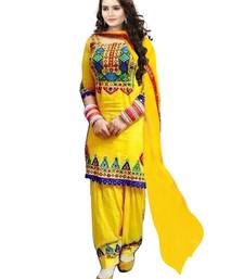 Buy Yellow embroidered Georgette semi stitched salwar with dupatta party-wear-salwar-kameez online