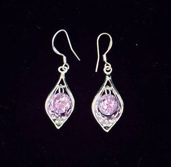 SILVER COLORED STONE EARRING