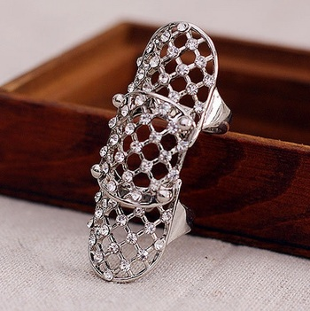 New high quality 18 K SILVER plated Rhinestone fashion woman ring