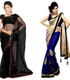 Buy black and blue embroidered chiffon saree with blouse party-wear-saree online