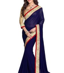 Buy IndianEFashion NavyBlue Georgette Embroidred Saree georgette-saree online