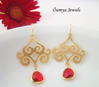 Traditional red earrings
