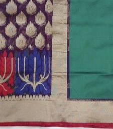 Buy Dark Purple hand woven jute cotton saree with blouse hand-woven-saree online