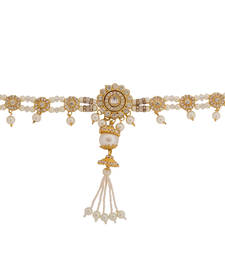 Buy White and Golden Pearl Kamar Bandh waist-belt online