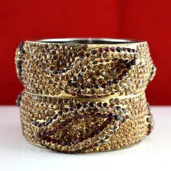 rajasthani brass bangle stone ryhin stone kara ad polki kundun cz size-2.4,2.6