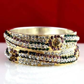 rajasthani brass bangle stone ryhin stone kara ad polki kundun cz size-2.4,2.6,2.8