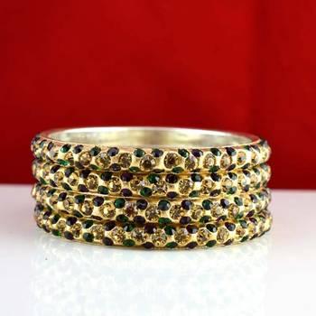 rajasthani brass bangle stone ryhin stone kara ad polki kundun cz size-2.6,2.8