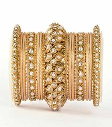 buy traditional solid colored kundan bangle set online