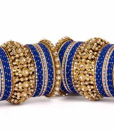 Buy Beautiful golden dot pattern bangle set for two hands wedding-season-sale online