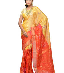 Buy Orange hand_woven silk saree with blouse silk-saree online