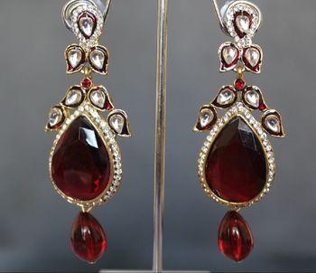 Designer Maroon dangling earring