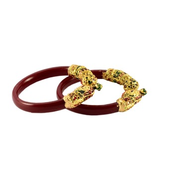 Extra Large Size Brass And Acrylic Bangle Color Maroon