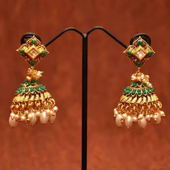 Anvi's square earring with emerald jhumkas with small and big pearl hangings