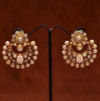Anvi's polki chand baali with pearls