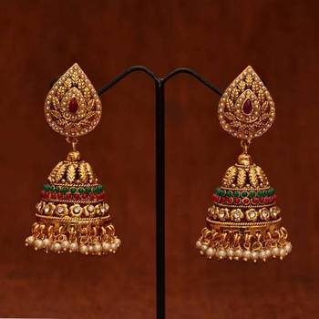 63c4d95cc Anvi's designer emeralds, rubies and pearl jhumkas with white stones ...