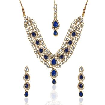 Ethnic Indian Jewelry Bollywood Deep Blue Kundan Like Work Necklace Set MW54