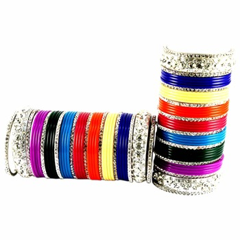 Extra Large size Brass and Acrylic Bangle Color Multicolor