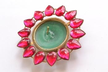 Pink Floral wax Diwali Diya