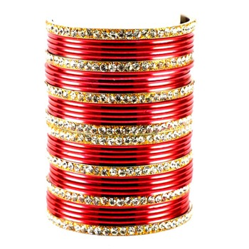 Extra Large Size Brass And Metal Bangle Color Red