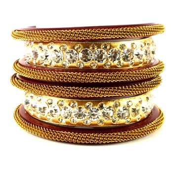 Extra Large Size Brass And Acrylic Bangle Color Golden
