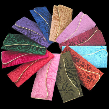 Wholesale lot of 12 pieces of assorted colors velvet clutch envelopes