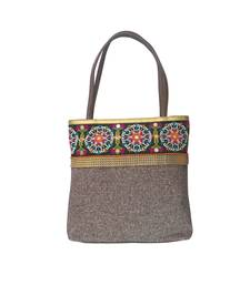 Buy Jute Handbag with Ethnic Border (Brown) handbag online