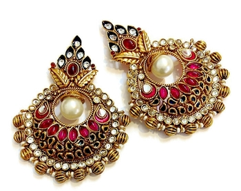 Huge high quality meenakari chaand bali..
