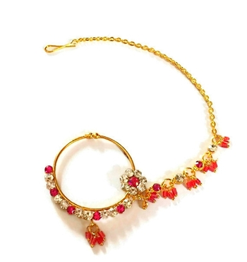 India bridal wear, beaded bridal nose ring