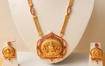 Beautiful Goldplated Ruby Designer Lakshmi Necklace Set