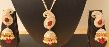 Lovely Designer Pearl Finish Red Mango Pendant Necklace With Jhumka