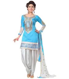 Buy Regalia Ethnic Blue Embroidery Chanderi Patiyala Dress Material punjabi-suit online