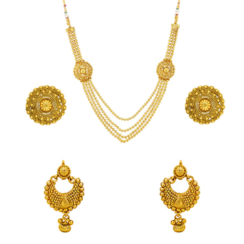 Donna Combo of Glowing gold plated necklace set and earrings for Women