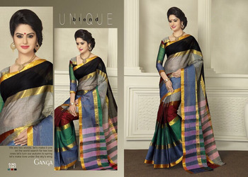 487f0a1cd8 multicolor Plain cotton saree with blouse - Signature Fashion - 645038