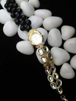 black kundan beads watch