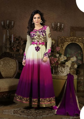 white and purple embroidered Georgette semi stitched salwar with dupatta