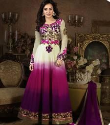 Buy white and purple embroidered Georgette semi stitched salwar with dupatta anarkali-salwar-kameez online