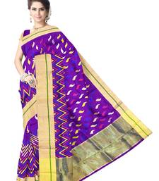 Buy Purple Handwoven Pure Silk Chanderi Saree with Blouse chanderi-saree online