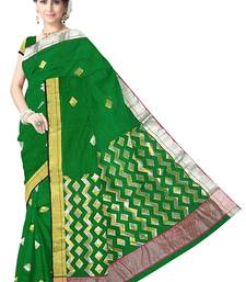 Buy Dark Green Handwoven Silk Cotton Chanderi Saree with Blouse chanderi-saree online