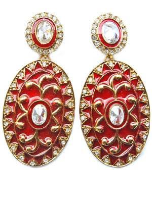 Maayra Red Meena Earrings