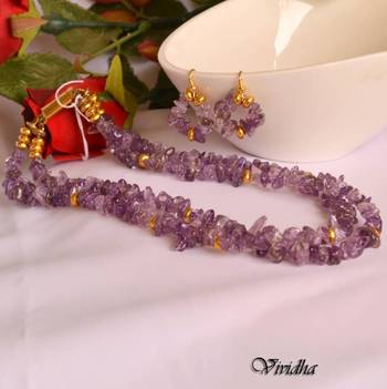Amethyst Chip beads Necklace Set