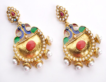 Designer Hot Peacock Earring