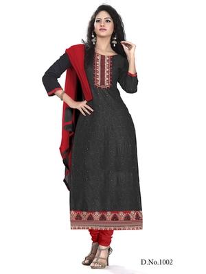 Dark Grey embroidered chanderi semi stitched salwar with dupatta