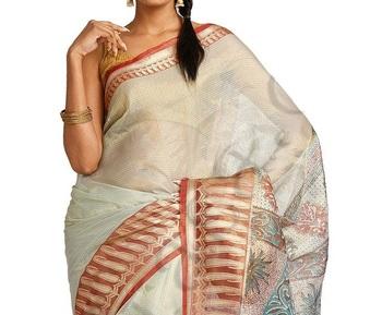 Tissue Zari fancy printed pallu saree